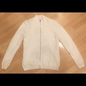 Men's white casual zip up jacket size medium used
